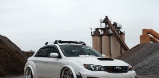 slammed Subaru WRX on Work VSXX