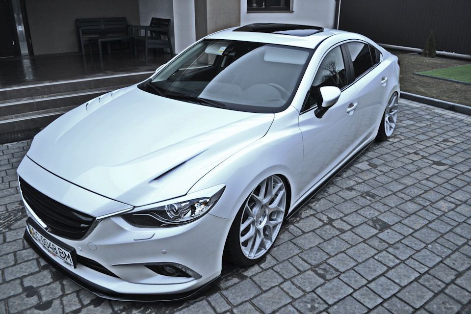 white-colored Mazda 6 Stanced on AvantGarde M590 wheels