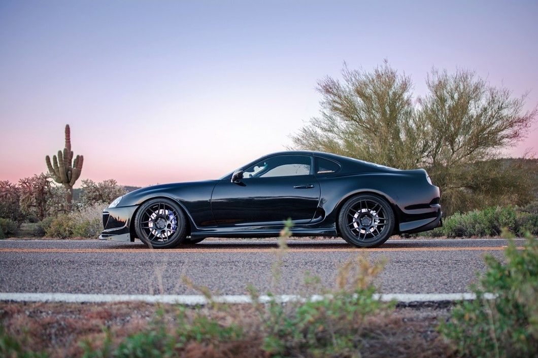 lowered toyota supra on Niche Pulse wheels